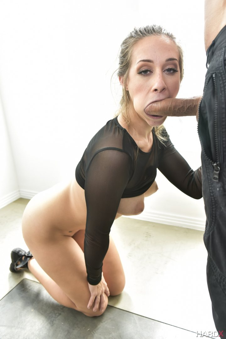 A sexy brunette shows her blow job skills sucking 4 big black cocks alternately 2