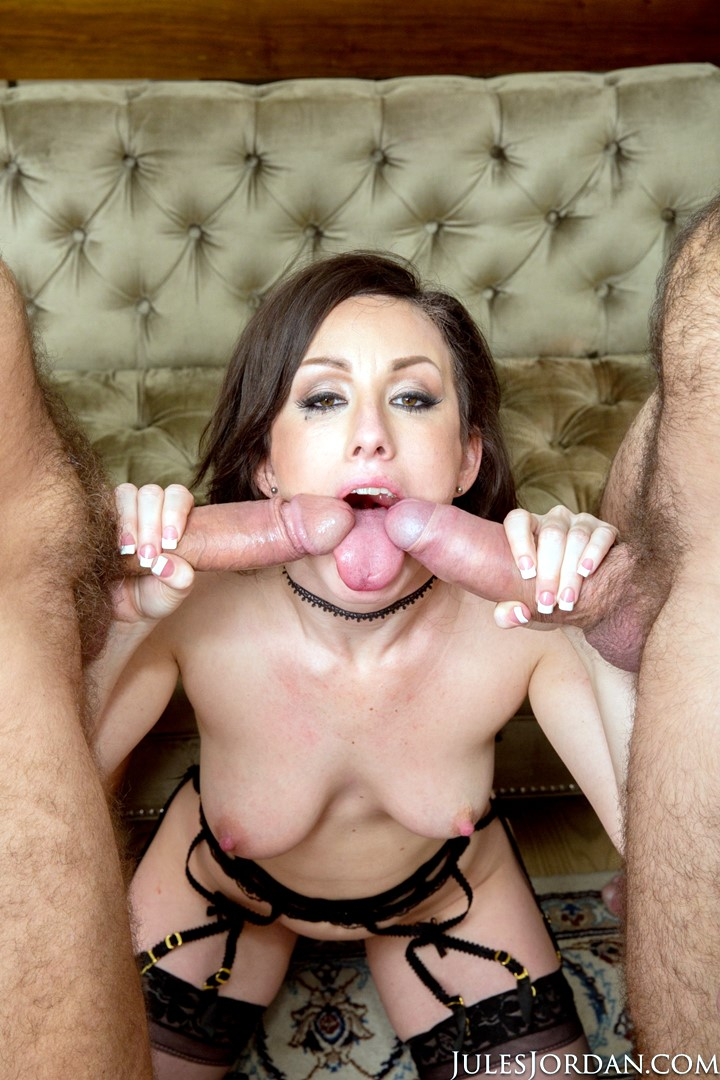 Jennifer White with two cocks